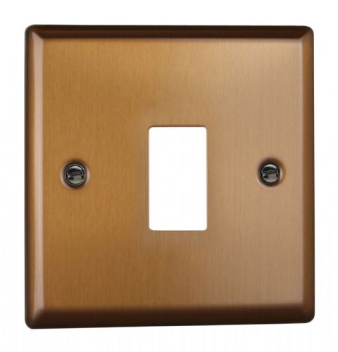 Varilight XYPGY1.BZ Urban Brushed Bronze 1 Gang PowerGrid Plate (Single Plate)